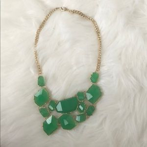 Large Stone Green/Gold Statement Necklace